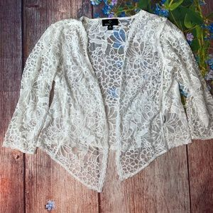 Ronni Nicole Lace Open Cardigan White Floral M